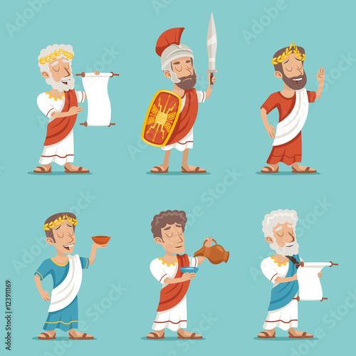 Fotografia Greek Roman Retro Vintage Character Icon Set Cartoon Design Vector Illustration