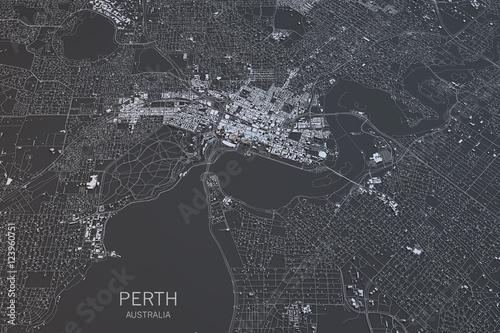 Fototapeta Cartina di Perth, vista satellitare, città, Australia