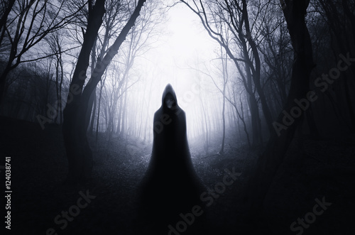 Naklejka na szafę Mroczna postać z kapturem w ciemnym lesie
