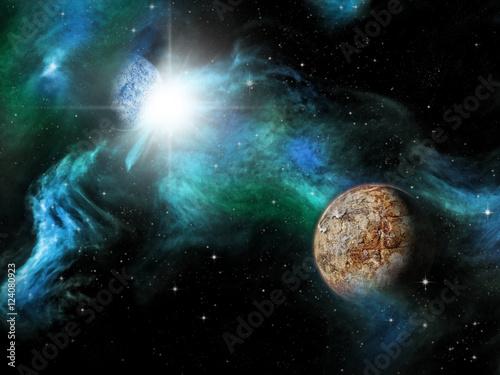 Sci-fi fantasy space scene alien planet