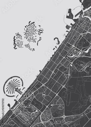 Fototapeta Vector detailed map Dubai