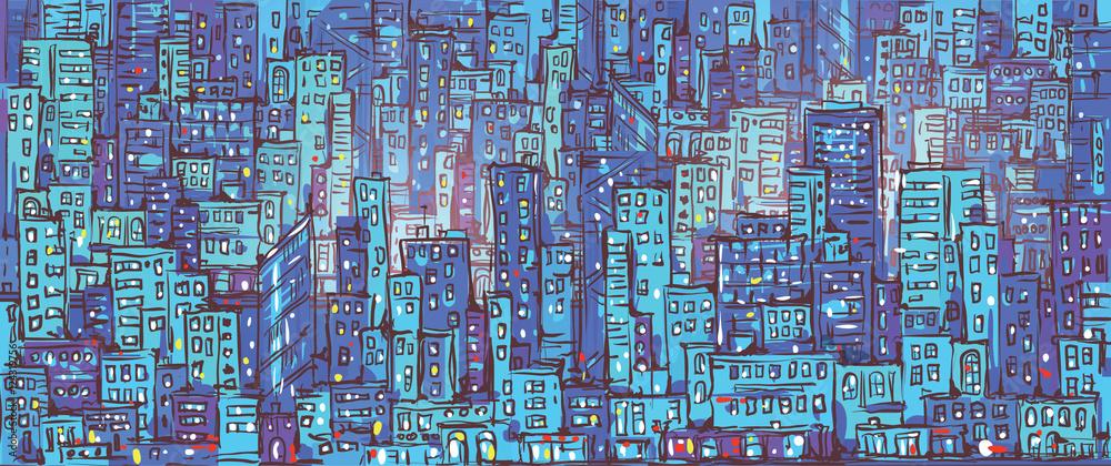 City background, hand drawn vector illustration