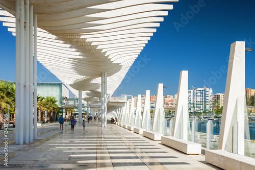 Valokuvatapetti Sunny view of promenade near port of Malaga, Andalusia province, Spain