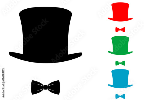 Icono plano chistera con pajarita varios colores Fototapet