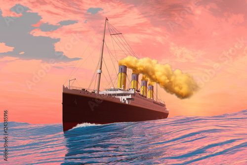 Wallpaper Mural Titanic Passenger Liner - On the afternoon of the fateful day it sank the RMS Titanic cruises to its destiny with an iceberg
