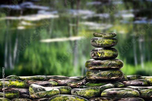 Zen pyramid of bulk glass stones. The concept of meditation, serenity, environment, health
