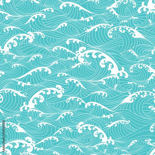 Ocean waves, stripes pattern seamless hand drawn Asian style Fototapeta