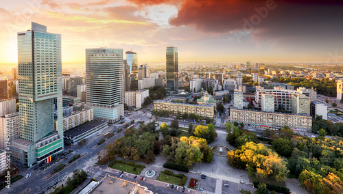Warsaw city with modern skyscraper at sunset, Poland