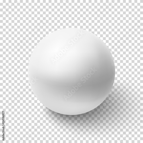 Photo Realistic white sphere isolated on transparent background.