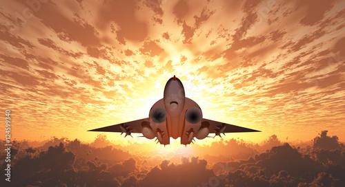 Photo Military Jet  in Flight Sunrise or sunset