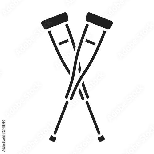 Crutches icon in black style isolated on white background Fototapeta