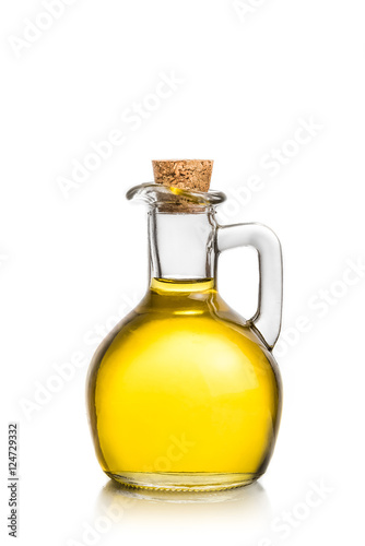 olive oil container bottle on white background