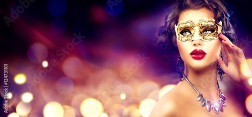 Fotografie, Obraz Beauty model woman wearing venetian masquerade carnival mask at party