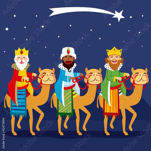 Three happy kings riding camel following shooting star Fototapeta