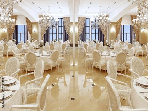 Luxurious ballroom, with white tables and large Windows. Fototapeta