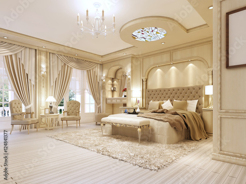 Stampa su Tela Luxurious bedroom in pastel colours in a neoclassical style.