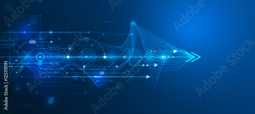 Fotografia Vector Abstract futuristic circuit board and mesh line, Illustration high computer and Communication technology on blue color background