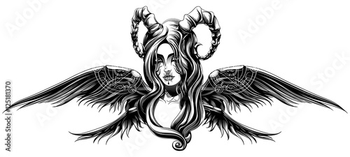 Canvas a demon with wings