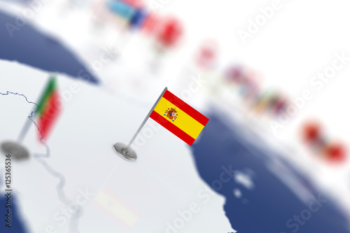 Wallpaper Mural Spain flag in the focus. Europe map with countries flags