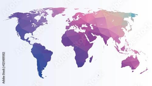Obraz premium Wieloboczna mapa świata