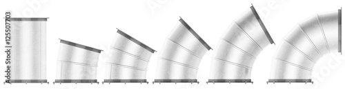 Fotografía Set of components of air duct is isolated. 3d rendering