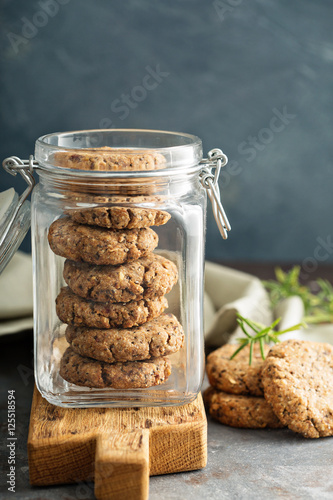 Valokuvatapetti Healthy cookies in a glass jar