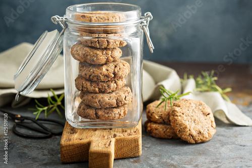 Healthy cookies in a glass jar Fototapeta