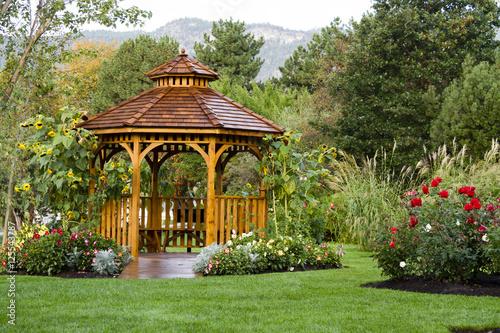 Fototapeta Cedar Gazebo Backyard Garden Park
