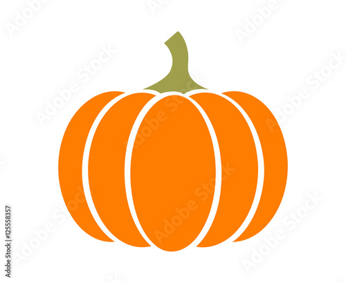 Canvas Print Pumpkin - squash for Halloween or Thanksgiving flat color icon for apps and webs