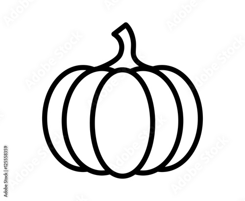 Photo Pumpkin - squash for Halloween or Thanksgiving line art icon for apps and websit