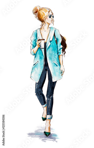Fashion sketch. Street style. Girl with coffee.
