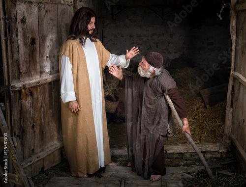 Jesus healing the lame or crippled man Fototapet