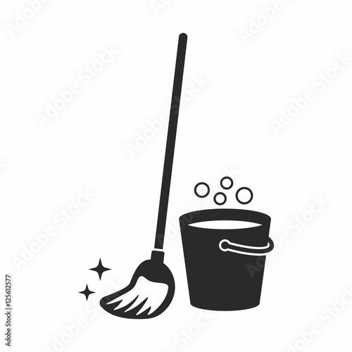 Cleaning, mop icon Fototapeta