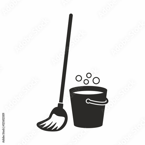 Fotografia Cleaning, mop icon