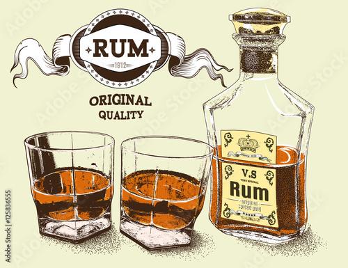 Carta da parati Two stemware of rum with bootle