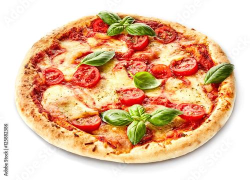 Margherita pizza garnished with fresh basil