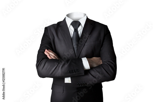Photo businessman without head isolated crossed arms