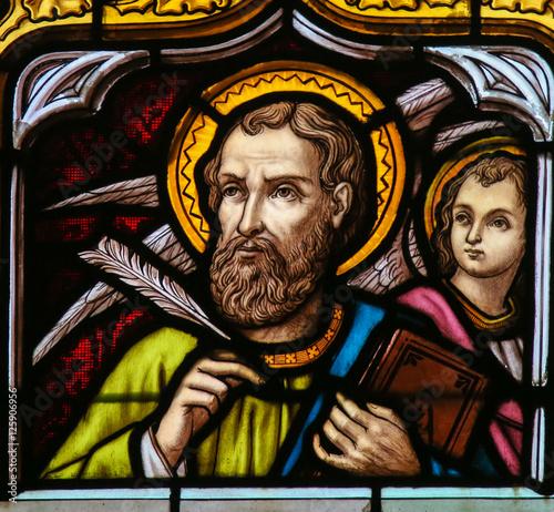 Fotografie, Obraz Stained Glass of Saint Matthew the Evangelist