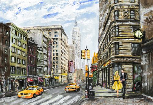 obraz olejny na płótnie, ulica widok Nowego Jorku, mężczyzna i kobieta, żółte taksówki, nowoczesne dzieła sztuki, amerykańskie miasto, ilustracja Nowy Jork