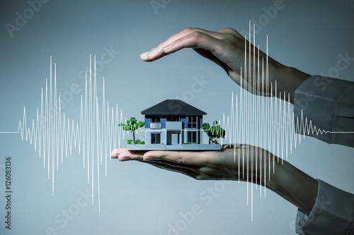 Fototapeta earthquake-resistant  house design concept