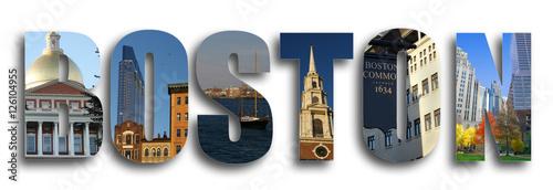 Photo Boston collage on white