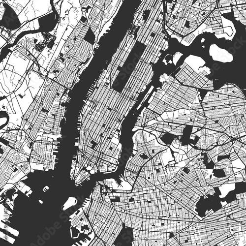 Canvas Print New York City Manhattan One Color Map