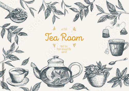 Obraz na plátně Vector illustration for Tea Shop
