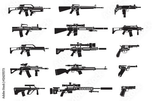 Obraz na plátně Machine gun and handgun, rifle pistol icons