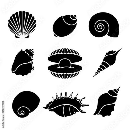 Slika na platnu Vector sea shells and pearl seashell silhouettes isolated on white background