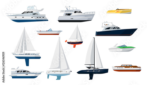Stampa su Tela Motorboat and sailboat side view set isolated vector illustration