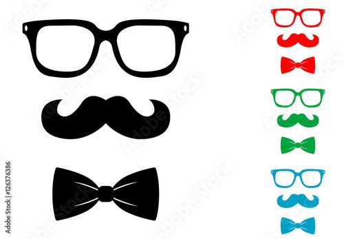 Fotomural Icono plano bigote gafas y pajarita hipster varios colores
