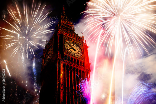 New Year in the city - Big Ben with fireworks #126442322