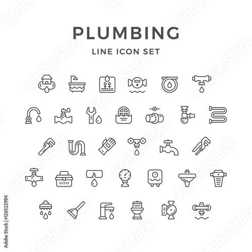 Slika na platnu Set line icons of plumbing