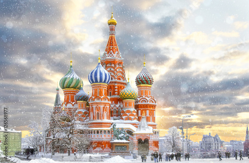 Canvas Print Moscow, Russia, Red square, view of St